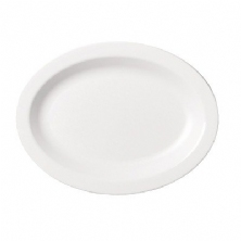 Narrow oval white plate