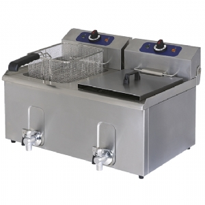 Electric fryer with drain tap, tabletop, oil capacity 8X8 litres 1241G