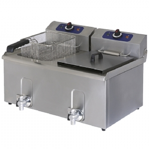 Electric fryer with drain tap, tabletop, oil capacity 10X10 litres 1276G