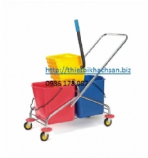 XÊ DẨY LAU SÀN, 60L Side-Press DOUBLE MOP TROLLEY B-043