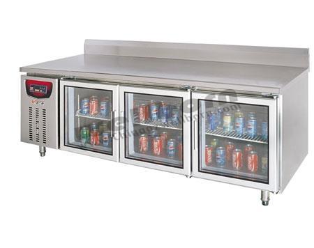 Tủ lạnh 2 cánh kính có thành chắn sau để bàn