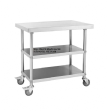 SS304 Mobile Work Bench With 2 Under Shelfs
