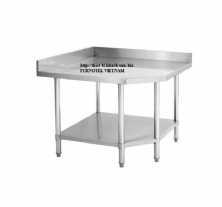 SS304 Corner Work Bench With Splashback & Under Shelf