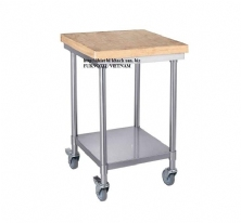 SS304 Mobile Bench With Wooden/Plastic Cutting Board