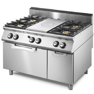 Gas solid top range on static gas oven GN 2/1 and closed cabinet, 4 burners V90120TPPCFG2