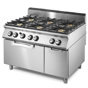 Gas range on static electric oven GN 2/1 and closed cabinet, 6 burners VS70120CFGE