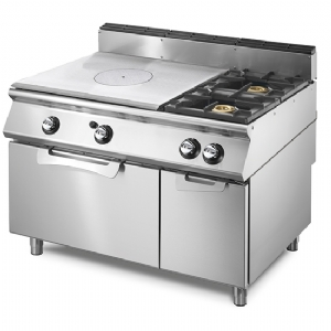 Gas solid top range on static gas oven GN 2/1 and closed cabinet, 2 burners VS70120TPFG