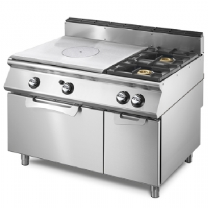 Gas solid top range on static gas oven GN 2/1 and closed cabinet, 2 burners  VS90120TPFG