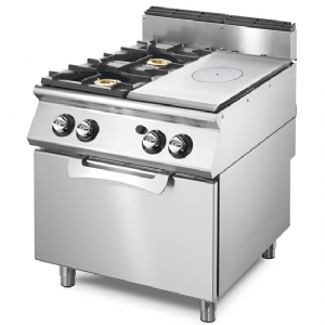 Gas solid top range on static gas oven GN 2/1,  2 burners VS9080TPPCFG