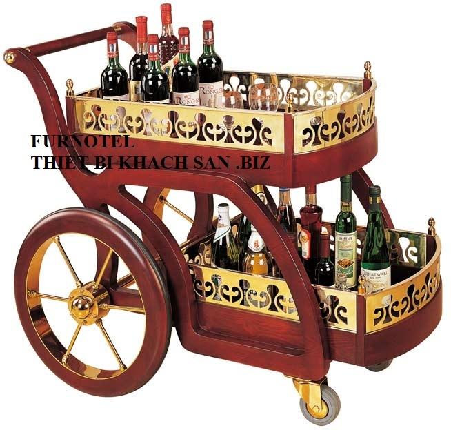 Xe đẩy rượu bằng gỗ